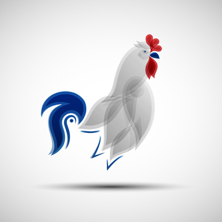 Illustration pour Stylized Rooster. Vector illustration of abstract Gallic rooster as symbol of France national football team for your design - image libre de droit