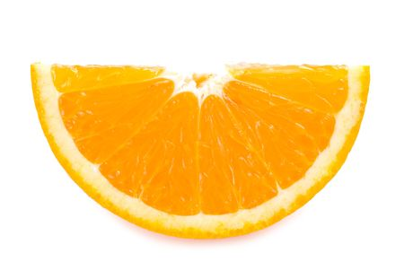 piece of fresh orange fruit on white background