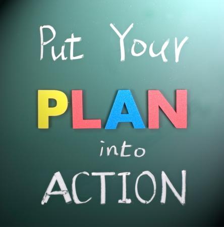 Photo pour Put your plan into action, words on blackboard. - image libre de droit