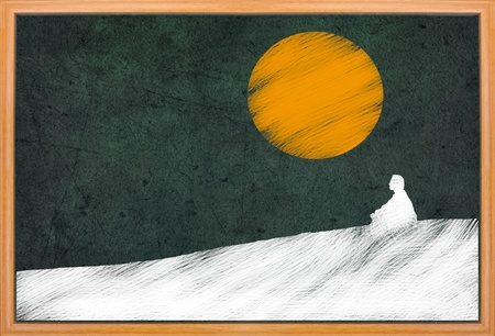 meditation under sunset, Buddhist activity, drawing on retro blackboard