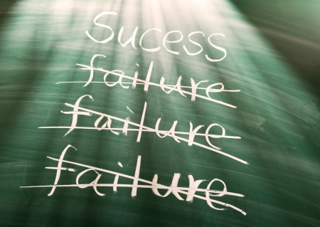 Failure to success, conceptual words on blackboard