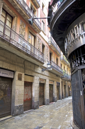 Narrow streets and alleys of the Barri Gotic, the old city of Barcelona