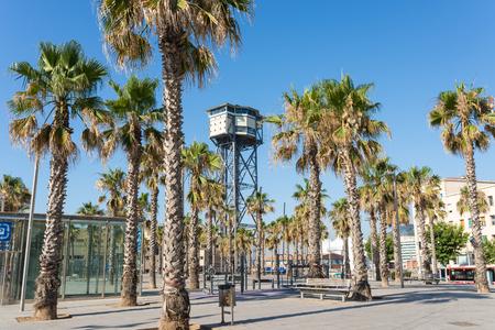 Plaça del Mar and Torre Sant Sebastia, a free-standing lattice tower in the district of Barceloneta