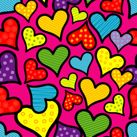Seamless background with decorative hearts. Valentine's day. Handmade drawing. Textile rapport.