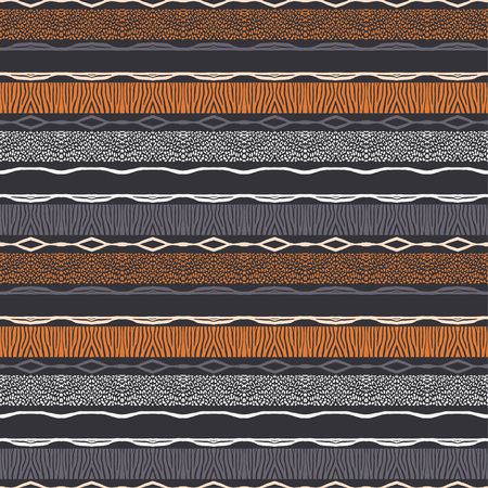 Illustration pour Ethnic boho seamless pattern. Texture with Zebra and Leopard spots. Patchwork texture. Weaving. Traditional ornament. Tribal pattern. Folk motif. Can be used for wallpaper, textile, wrapping, web page background. - image libre de droit