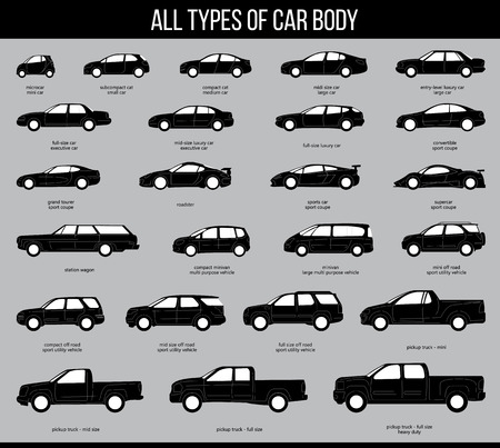 All types of car body. Car Type and Model Objects icons Set . black illustration isolated on grey background. Variants of automobile body silhouette for web.