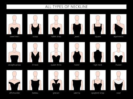 Ilustración de Vector illustration set of various neckline types for women's' fashion. Vector in flat linear style. - Imagen libre de derechos