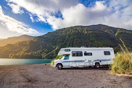 Foto de Motorhome in Chilean Argentine mountain Andes. Family trip travel vacation on Motorhome RV in Andes. Ensenada, Chile - Imagen libre de derechos