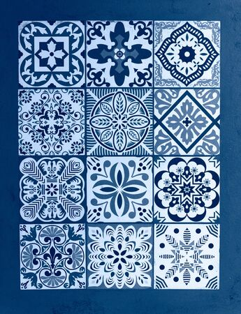 Photo for Mexican talavera blue classic background. Color of the year - Royalty Free Image