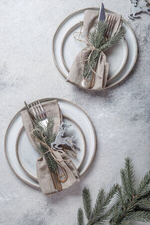Photo for Cristmas table cutlery set with holiday decoration. Top view, copy space. - Royalty Free Image