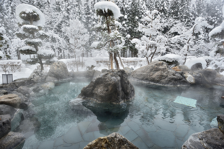 Photo pour Open air hot spring in snow winter,Japan - image libre de droit