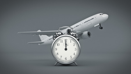 time for travel, airplane clocks. renderind 3d