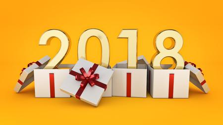 Photo pour Gift box New Year 2018. 3d rendering - image libre de droit