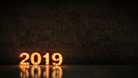 marquee light 2019 letter sign, New Year 2019. 3d render