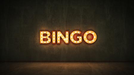 Foto de Neon Sign on Brick Wall Background - Bingo. 3d rendering - Imagen libre de derechos