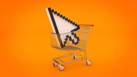 Photo pour shopping cart with mouse cursor. 3d rendering - image libre de droit