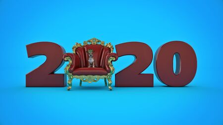 Dog with crown in a chair concept 2020 New Year sign. 3d render
