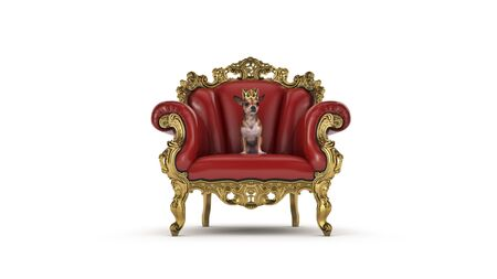 Dog with crown in a chair. 3d render