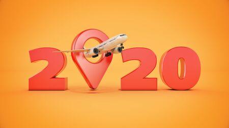 Photo pour Airline travel concept. Airport pointer. 2020 New Year sign. 3d render - image libre de droit