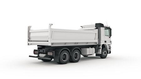 Photo for white dump truck. 3d render - Royalty Free Image