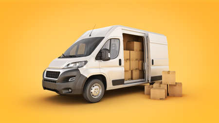 Photo for commercial delivery van with cardboard boxes. 3d rendering - Royalty Free Image