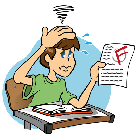 Vektor für Illustration of a character mascot sad and worried Student with low note who took the test, ideal for field training and internal - Lizenzfreies Bild