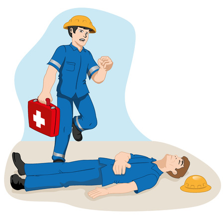 Safety, officer running with first aid kit to help injured colleague. Ideal for training and information materials