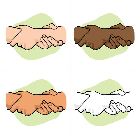 Illustration leaning hands holding the wrist of another ethnicity. Ideal for catalogs, informative and institutional materials