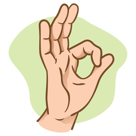 Illustration of hands making an okay sign, caucasian. Ideal for catalogs, informative and institutional materials