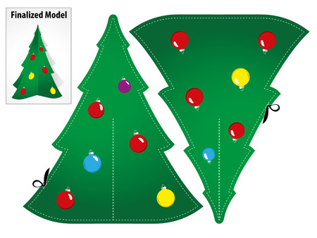 Drawing a Model Toy Paper Craft Christmas tree to mount