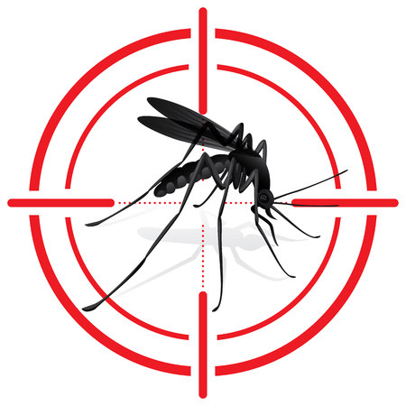Ilustración de Signaling, mosquitoes with Mosquito target. sights signal. Ideal for informational and institutional sanitation and related care - Imagen libre de derechos