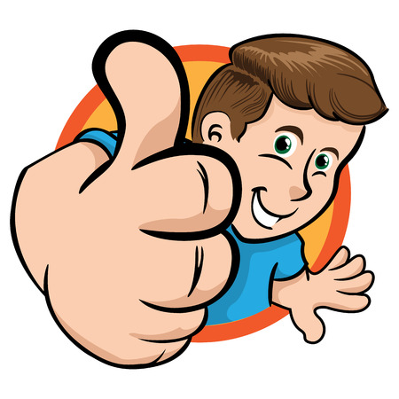 Person man in perspective making positive sign with his thumb in a circle. Ideal for institutional material, educational and promotional