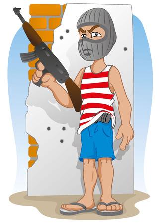 Ilustración de Illustration representing a criminal masked, and armed with a machine gun - Imagen libre de derechos