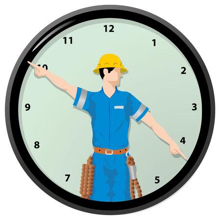 Ilustración de Illustration Single worker is the hands of a clock - Imagen libre de derechos