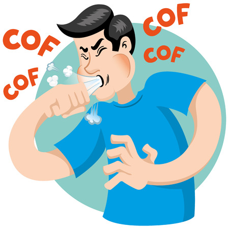 Illustration pour Illustration depicts a character Caucasian man with cough symptoms. Ideal for health and institutional information - image libre de droit