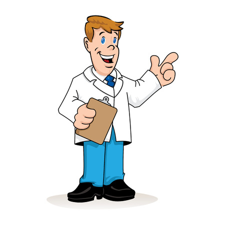 Ilustración de Illustration depicting a caucasian man in a lab coat, doctor, teacher or pharmacist with a clipboard in his hand explaining something. Ideal for institutional materials and training - Imagen libre de derechos
