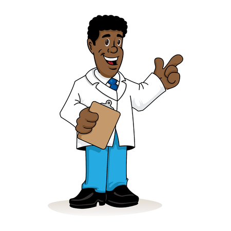Ilustración de Illustration depicting an afro-descendant man in a lab coat, doctor, teacher or pharmacist with a clipboard in his hand explaining something. Ideal for institutional materials and training - Imagen libre de derechos