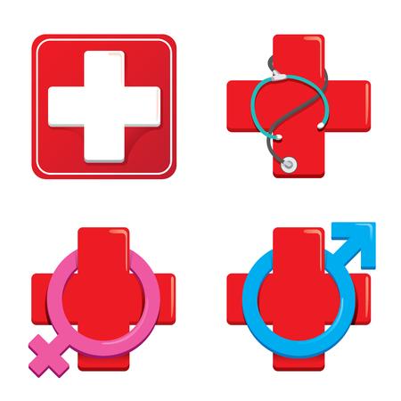 Ilustración de Icon representing hospital. - Imagen libre de derechos