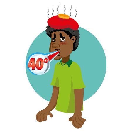 Ilustración de Mascot person man bust Afro-descendant, with high fever, symptom. Ideal for informational and institutional related to medicine. - Imagen libre de derechos