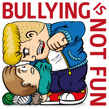 Illustration of a child suffering bullying from a quarrelsome bully, and text. Ideal for catalogs, information and institutional material