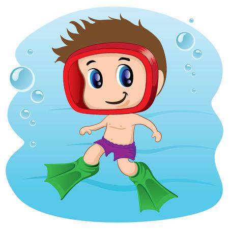 Ilustración de Illustration representing Child practicing diving, swimming or aquatic tourism. Ideal for sports and leisure materials - Imagen libre de derechos