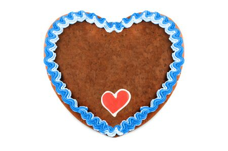 Photo pour Oktoberfest Gingerbread heart cookie with ornaments and copy space. Oktoberfest is a october fest in munich germany for beer and bavarian food. - image libre de droit