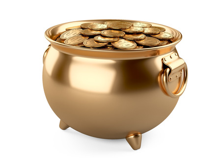 3d render pot of gold. cauldron full of coins isolated on white background.