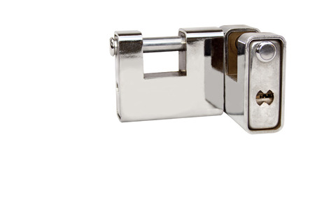 Two isolated solid chrome heavy duty locks on white