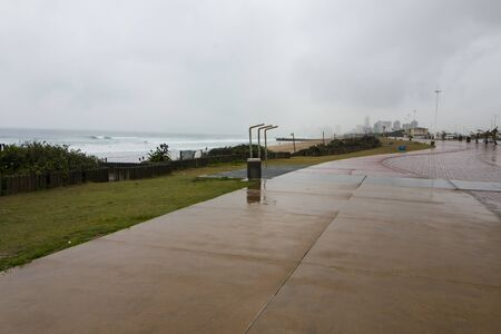 Photo for Beachfront promenade on a rainy day in durban, south africa - Royalty Free Image