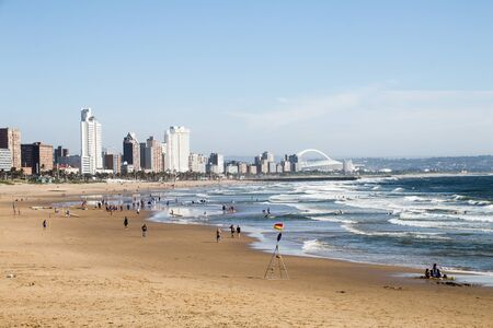 Photo for View of durban's golden mile of hotels from ushaka beach - Royalty Free Image