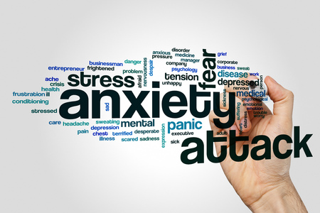 Anxiety attack word cloud concept on grey background.