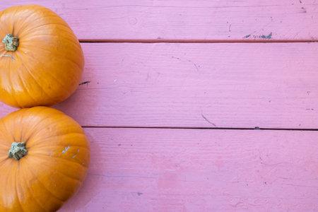 Foto de Two orange pumpkin on a pink wooden background - Imagen libre de derechos