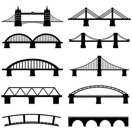 Bridge Icons Set Vector