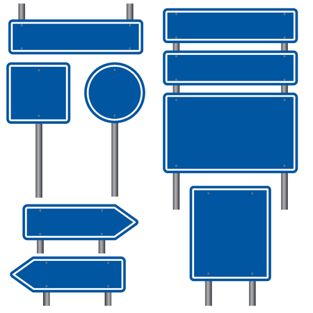 Illustration pour Blank Blue Road Signs - image libre de droit